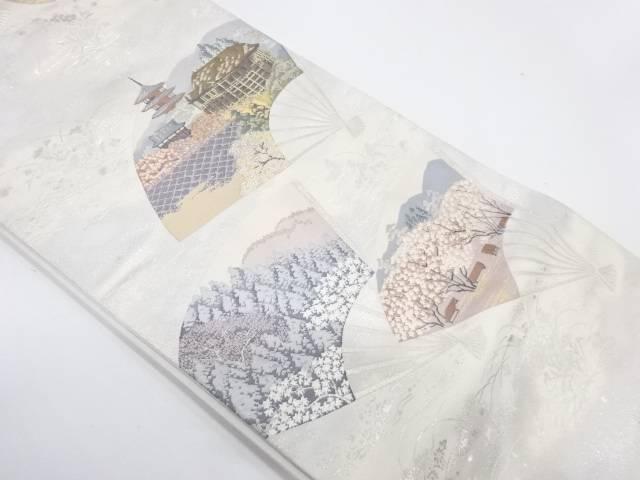 扇に清水寺風景模様織出し袋帯【リサイクル】【中古】【着】 宗sou