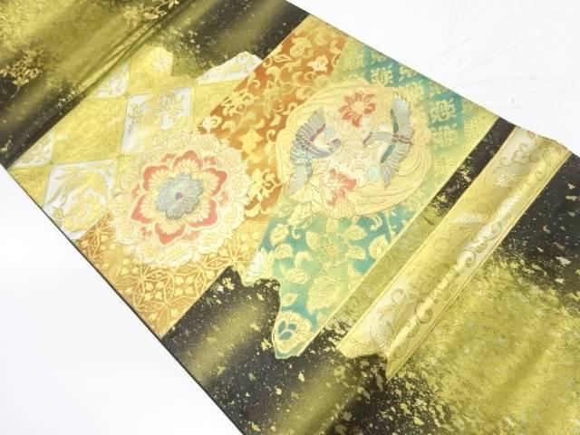 作家物 金彩螺鈿華紋に花喰い鳥模様袋帯【リサイクル】【中古】【着】 宗sou