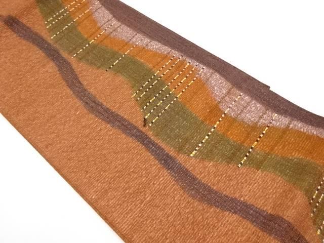 紗 すくい織よろけ縞に横段織出し袋帯【リサイクル】【中古】【着】 宗sou