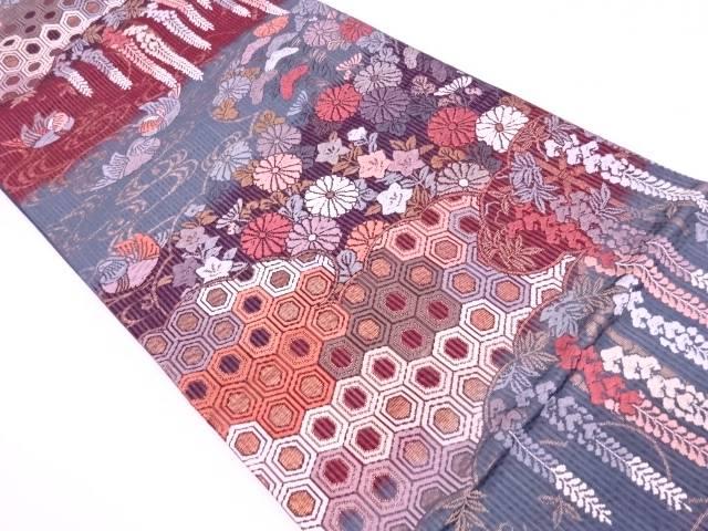 雲取に鴛鴦・草花模様織出し袋帯【リサイクル】【中古】【着】 宗sou