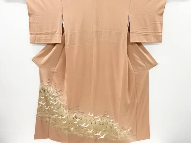 宗sou 金彩松に群鶴模様刺繍一つ紋色留袖【リサイクル】【中古】【着】