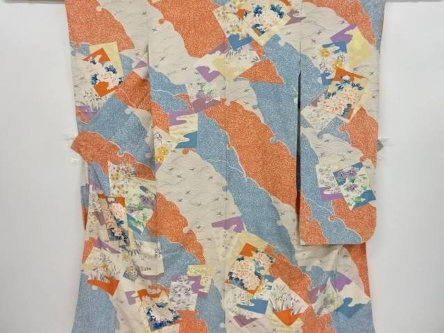 色紙に桜・牡丹・鳥・菖蒲模様刺繍振袖【リサイクル】【中古】【着】 宗sou