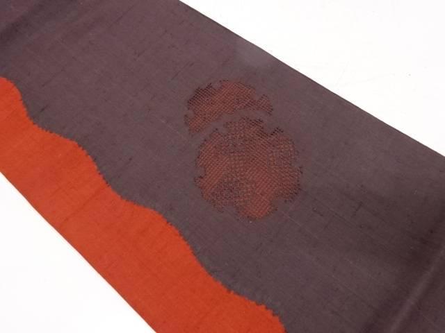 手織り紬雪輪に花模様袋帯【リサイクル】【中古】【着】 宗sou