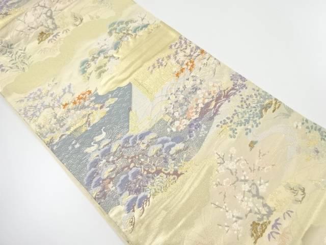 本金庭園風景模様織り出し袋帯【リサイクル】【中古】【着】 宗sou