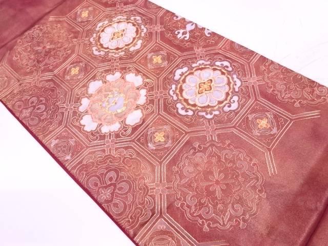 蜀江文に華紋模様刺繍袋帯【リサイクル】【中古】【着】 宗sou