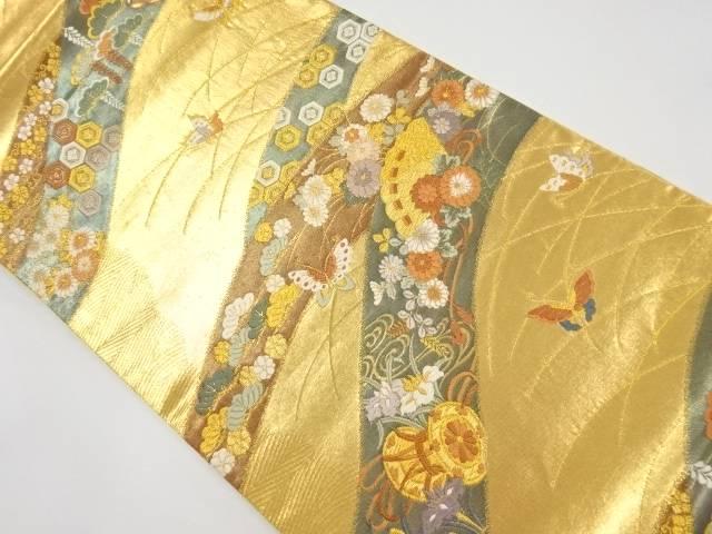 本金波に花蝶和楽器模様織出し袋帯【リサイクル】【中古】【着】 宗sou