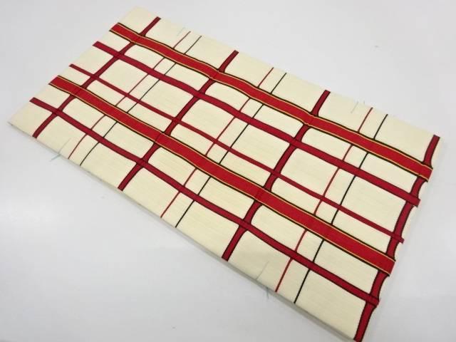 未使用品 格子模様織出し袋帯【リサイクル】【着】 宗sou