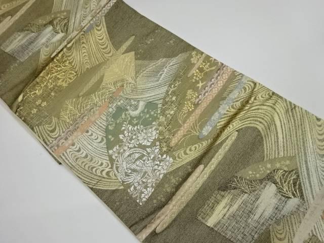 未使用品 地紙に秋草模様織出し袋帯【リサイクル】【着】 宗sou