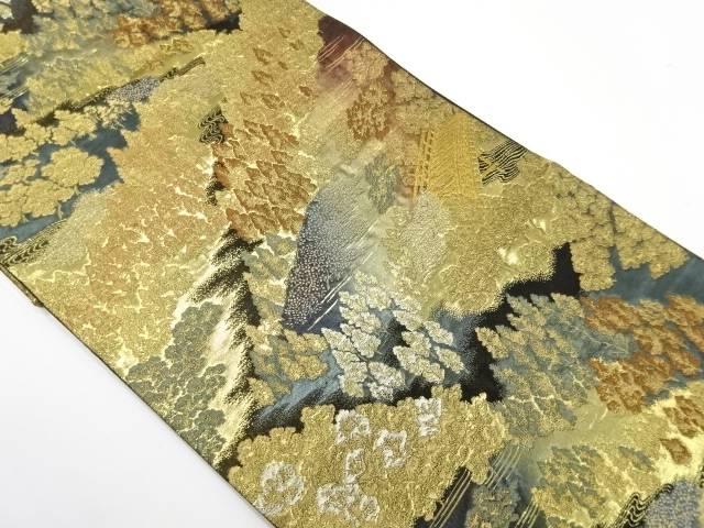 山並みに樹木模様織出し袋帯【リサイクル】【中古】【着】 宗sou