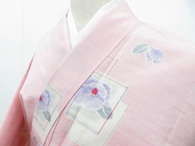 紬 色紙に椿散らし文 着物【リサイクル】【中古】【着】 宗sou