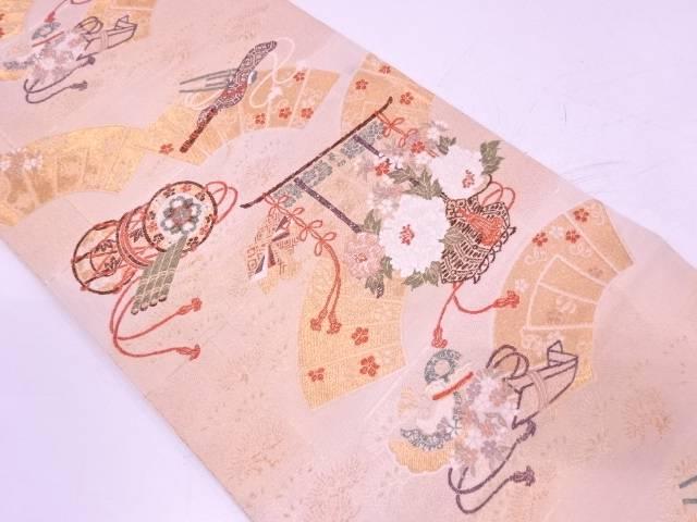 茶道具 茶道 着物 地紙に古楽器 花籠模様織出し袋帯 着 公式ストア 宗sou 中古 リサイクル セール特価
