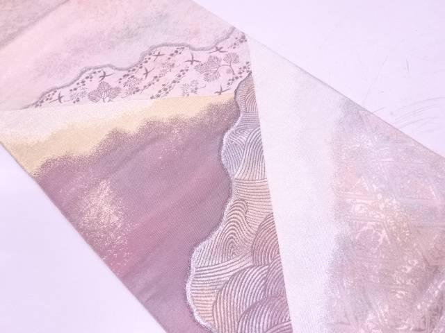 引箔流水に若松・鳥模様織出し袋帯【リサイクル】【中古】【着】 宗sou