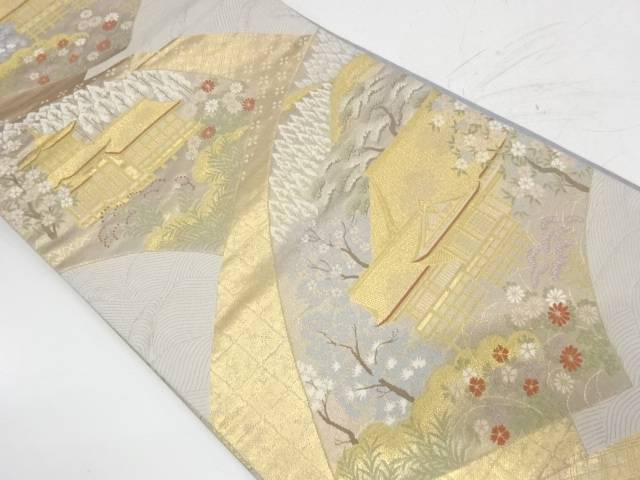 地紙に寺院風景模様織出し袋帯【リサイクル】【中古】【着】 宗sou
