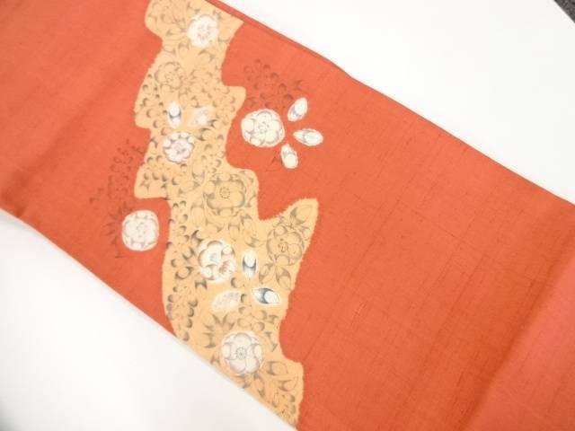 未使用品 手織り節紬道長取りに辻が花模様袋帯【リサイクル】【着】 宗sou