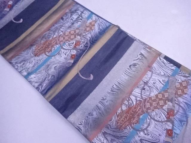 袋帯 横段に古楽器文【リサイクル】【中古】【着】 宗sou