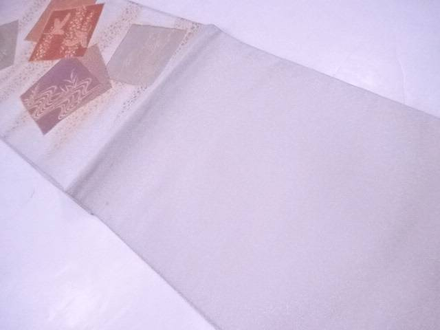 袋帯 刺繍 綴 地紙に飛鶴・霞文【リサイクル】【中古】【着】 宗sou