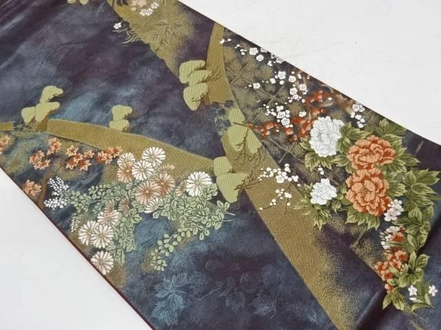 山並みに松梅・草花模様織出し袋帯【リサイクル】【中古】【着】 宗sou