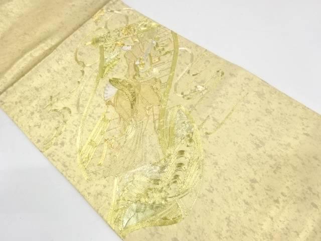 引箔蘇州刺繍巻絵に時代人物模様袋帯【リサイクル】【中古】【着】 宗sou
