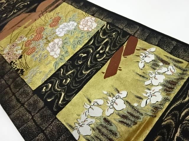 横段に花々風景模様織出し袋帯【リサイクル】【中古】【着】 宗sou
