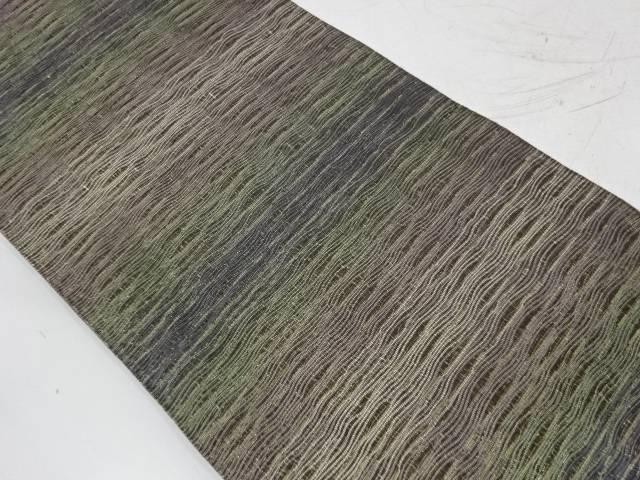 本泥染横段に抽象模様織出し全通袋帯【リサイクル】【中古】【着】 宗sou