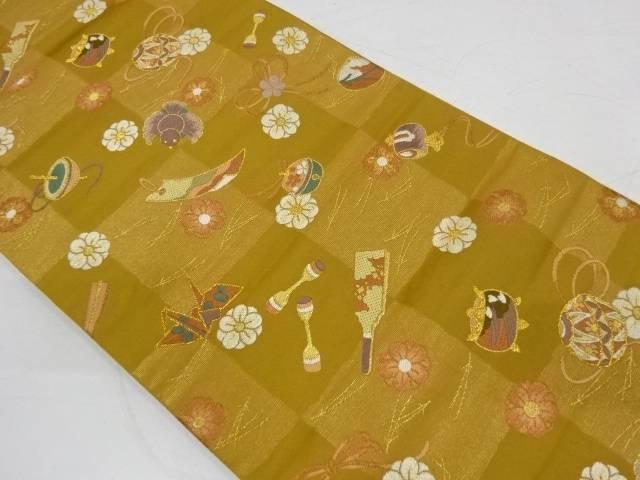 市松に折鶴・鈴模様織出し袋帯【リサイクル】【中古】【着】 宗sou