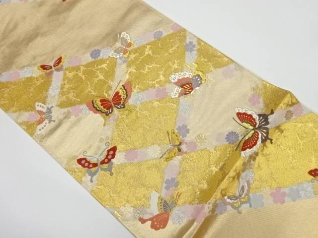 襷に花・蝶模様織出し袋帯【リサイクル】【中古】【着】 宗sou