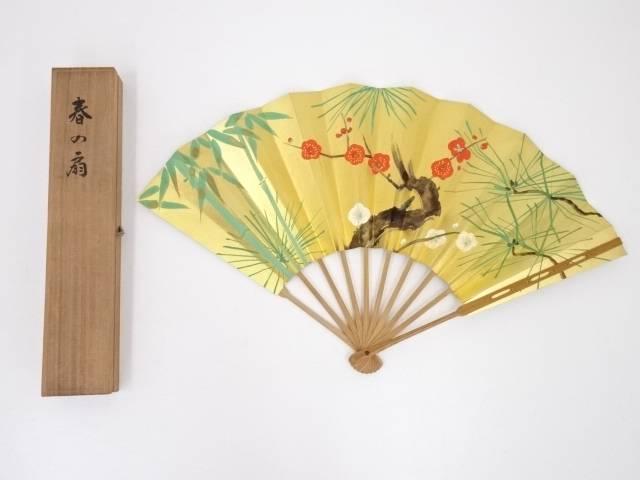 十松屋福井謹製 春の扇(共箱)【中古】【道】 宗sou