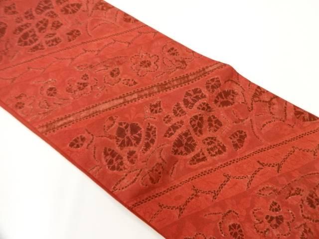 ますいわ屋謹製 斜め縞に花唐草模様織出し袋帯【リサイクル】【中古】【着】 宗sou
