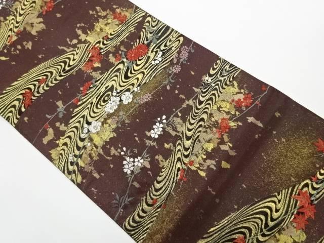 摺出し箔横段に流水・花模様織出し袋帯【リサイクル】【中古】【着】 宗sou