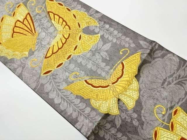 茶道具 茶道 着物 蝶に藤模様織出し袋帯 流行のアイテム 宗sou リサイクル メーカー直売 着 中古
