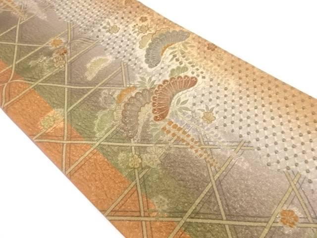 絞り籠目に草花模様織出し袋帯【リサイクル】【中古】【着】 宗sou