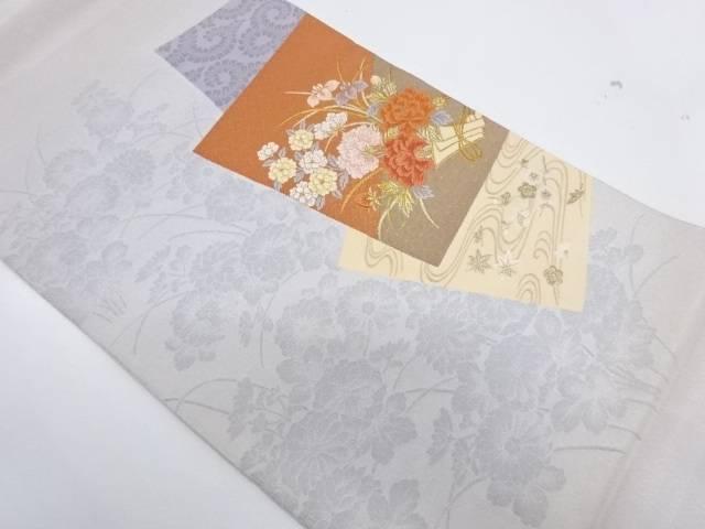 綴れ色紙に流水・草花模様刺繍袋帯【リサイクル】【中古】【着】 宗sou