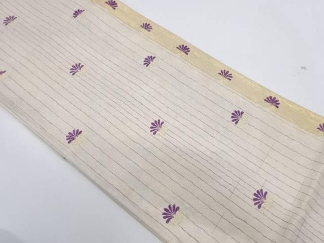 縞に菊模様織出し袋帯【リサイクル】【中古】【着】 宗sou
