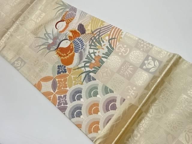 色紙に鴛鴦模様織出し袋帯【リサイクル】【中古】【着】 宗sou