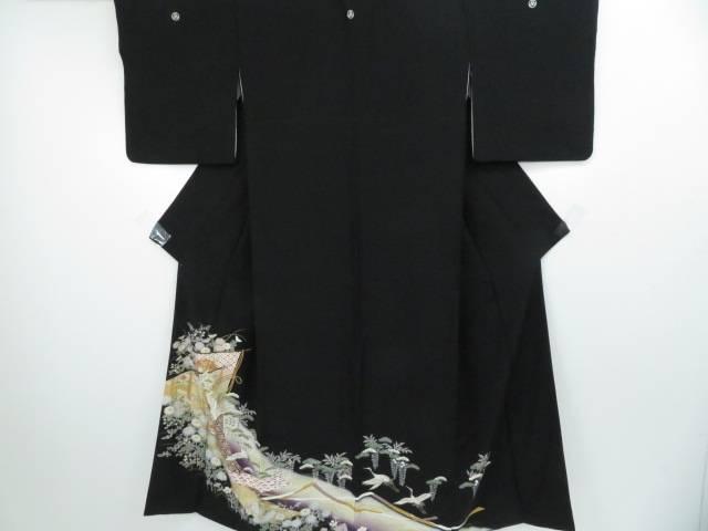 黒留袖 几帳に飛鶴・秋草花文 着物【リサイクル】【中古】【着】 宗sou
