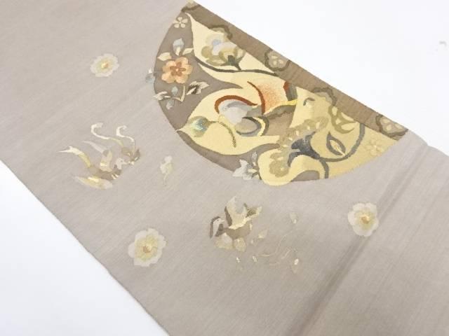 花喰い鳥模様織出し袋帯【リサイクル】【中古】【着】 宗sou