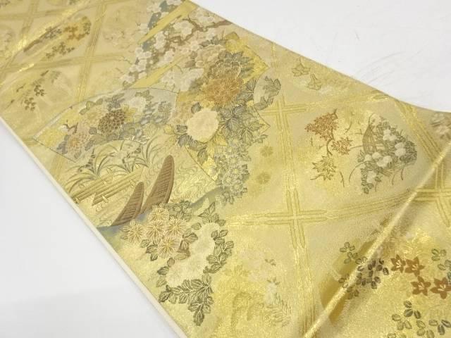 地紙に牡丹・舟模様織出し袋帯【リサイクル】【中古】【着】 宗sou