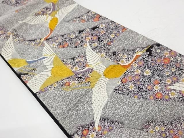 群鶴に草花模様織出し袋帯【リサイクル】【中古】【着】 宗sou