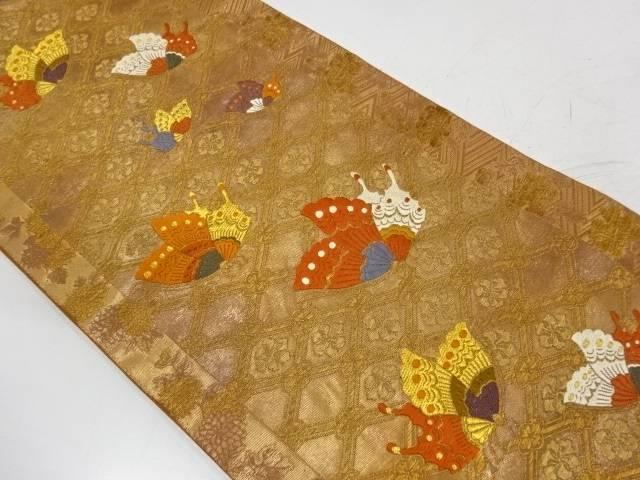 斜め格子に花・蝶模様織出し袋帯【リサイクル】【中古】【着】 宗sou