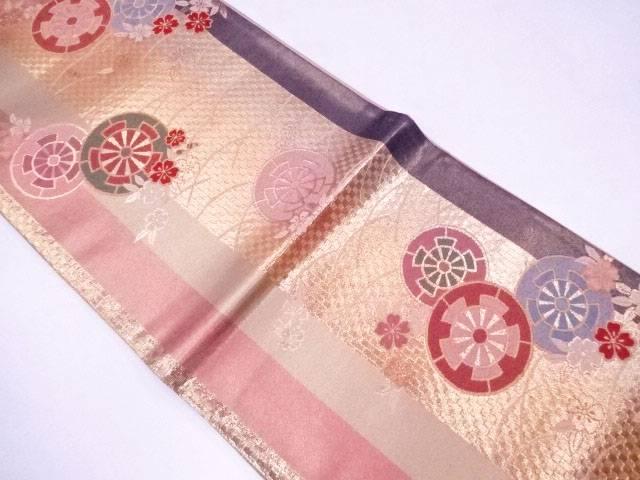 袋帯 西陣織 縦縞に車重ね文【リサイクル】【中古】【着】 宗sou