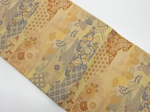未使用品 霞に花々模様織出し全通袋帯【リサイクル】【着】 宗sou