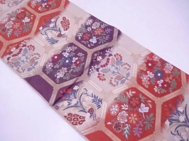 袋帯 刺繍 唐織 亀甲に花鳥文【リサイクル】【中古】【着】 宗sou