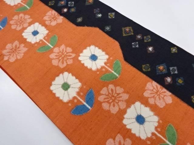 手織り紬草花模様全通袋帯【リサイクル】【中古】【着】 宗sou