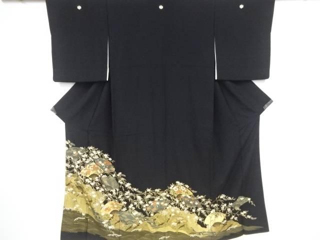 金彩 扇に菊・桜菖蒲模様刺繍留袖(比翼付き)【リサイクル】【中古】【着】 宗sou
