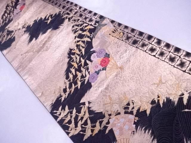 袋帯 刺繍 石畳・波に扇・飛鶴文 黒地【リサイクル】【中古】【着】 宗sou