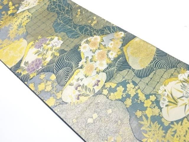 貝合わせに草花模様織出し袋帯【リサイクル】【中古】【着】 宗sou