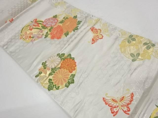 蝶に花丸文様織出し袋帯【リサイクル】【中古】【着】 宗sou
