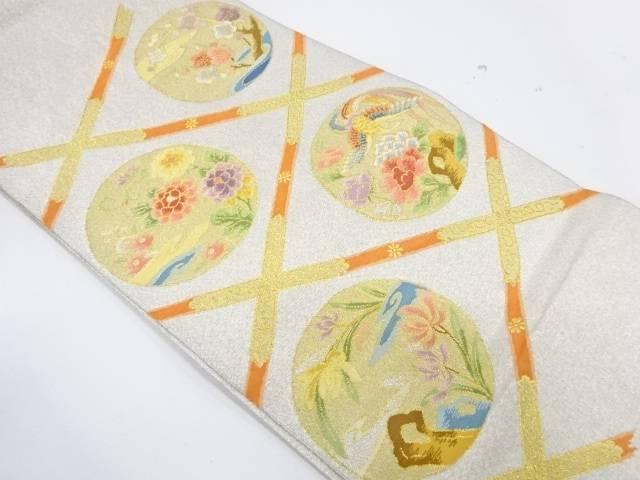 格天井に花鳥模様織出し袋帯【リサイクル】【中古】【着】 宗sou