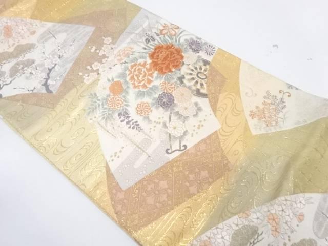 純金箔扇面重花車文織出し袋帯【リサイクル】【中古】【着】 宗sou