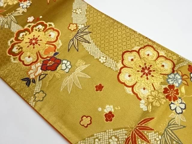 花模様織出し袋帯【リサイクル】【中古】【着】 宗sou
